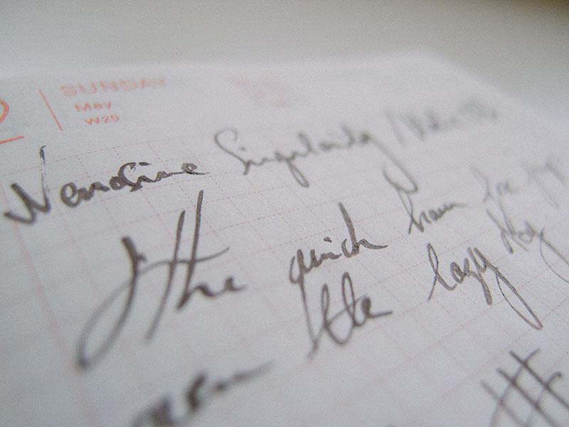 stub-nib-writing-sample